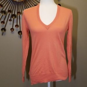 J Crew coral v-neck sweater